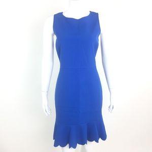 J Crew Scalloped Drop Hem Sheath Dress Blue